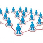 multilevel marketing network concept with human figures